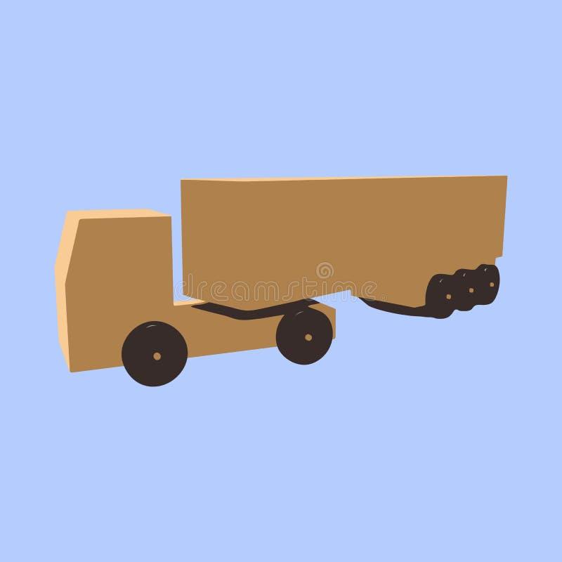 Ξύλινο φορτηγό με ένα ρυμουλκό σε ένα μπλε υπόβαθρο απεικόνιση αποθεμάτων