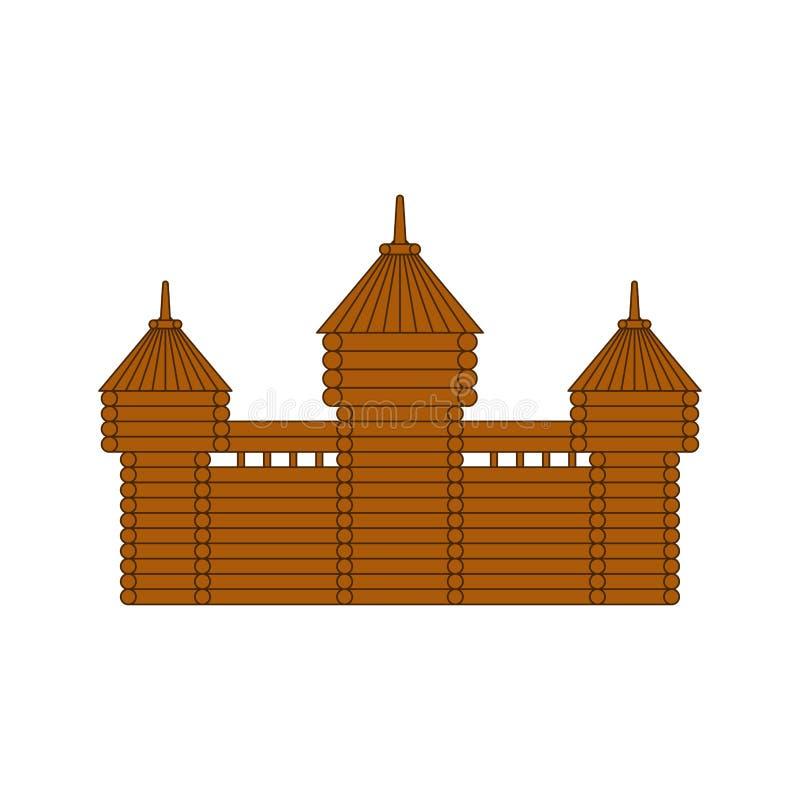 Ξύλινο φρούριο εφοδιασμένος με ξύλα πύργος κάστρων παλαιό φυλάκιο διανυσματική απεικόνιση