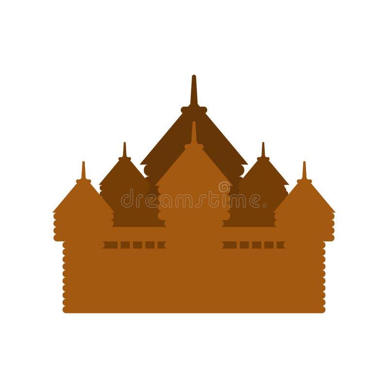 Ξύλινο φρούριο εφοδιασμένος με ξύλα πύργος κάστρων παλαιό φυλάκιο ελεύθερη απεικόνιση δικαιώματος