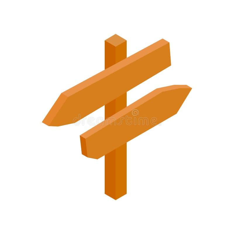 Ξύλινο isometric τρισδιάστατο εικονίδιο σημαδιών βελών κατεύθυνσης απεικόνιση αποθεμάτων