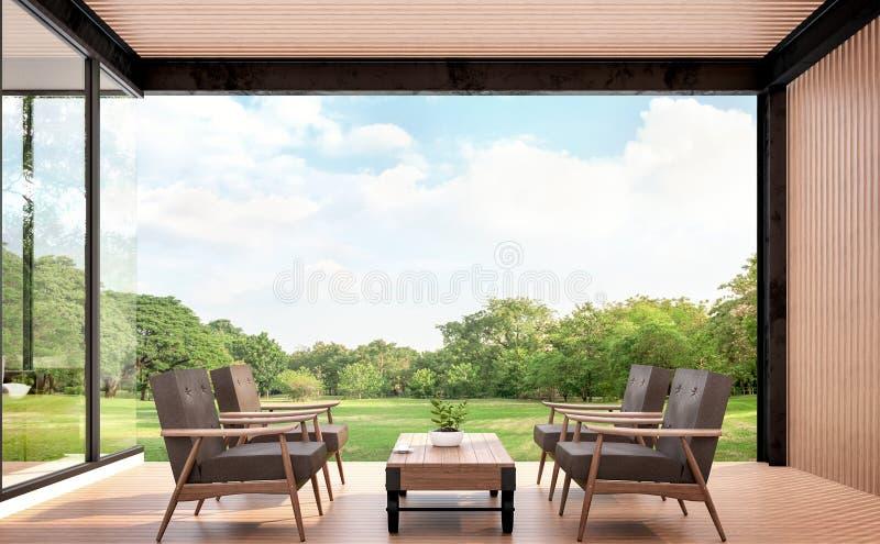 Ξύλινο pavillion με την τρισδιάστατη δίνοντας εικόνα άποψης κήπων ελεύθερη απεικόνιση δικαιώματος