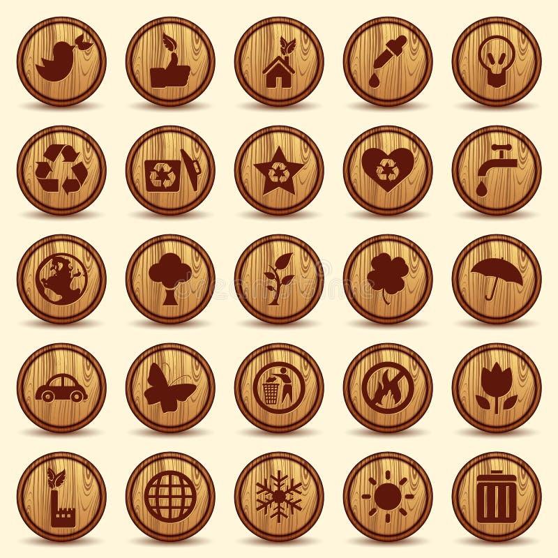 Ξύλινα εικονίδια οικολογίας καθορισμένα. Πράσινα σύμβολα περιβάλλοντος απεικόνιση αποθεμάτων