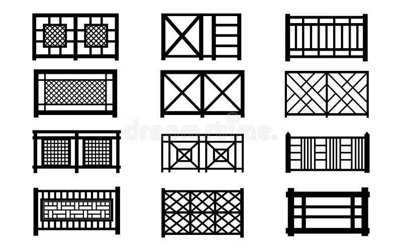 Ξύλινα εικονίδια φρακτών διανυσματική απεικόνιση