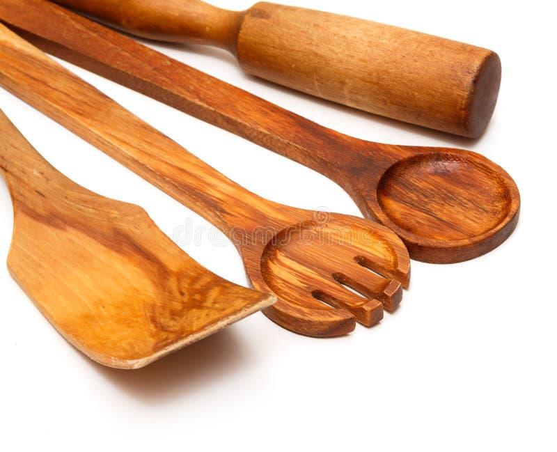 Ξύλινα εργαλεία κουζινών στοκ εικόνα με δικαίωμα ελεύθερης χρήσης