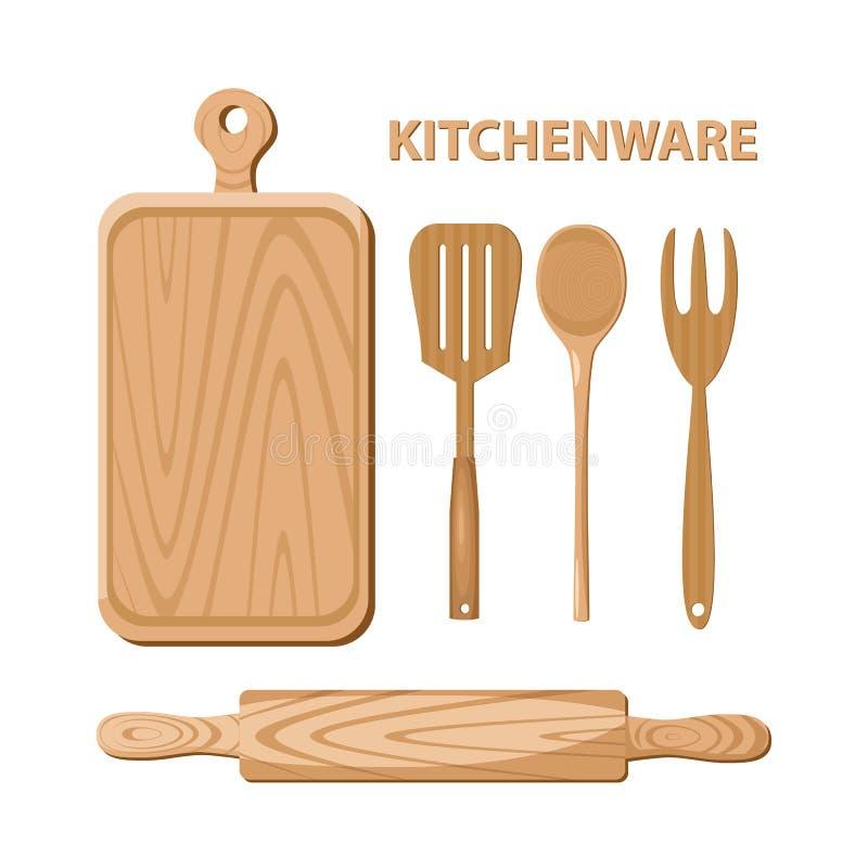 Ξύλινα εργαλεία κουζινών kitchenware ελεύθερη απεικόνιση δικαιώματος