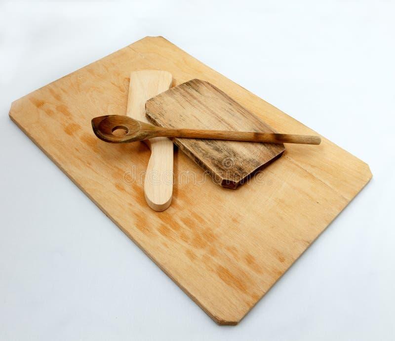 Ξύλινα εργαλεία cutboard και κουζινών στοκ εικόνα