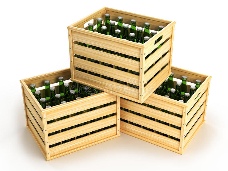 Ξύλινα κιβώτια με τα πράσινα μπουκάλια μπύρας απεικόνιση αποθεμάτων