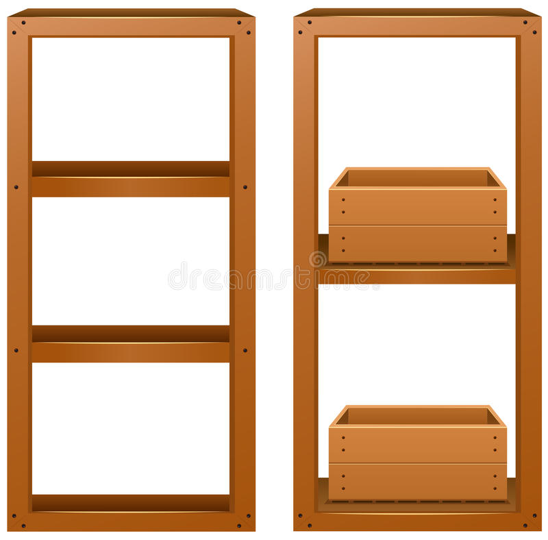 Ξύλινα ράφια με τα ξύλινα κιβώτια ελεύθερη απεικόνιση δικαιώματος