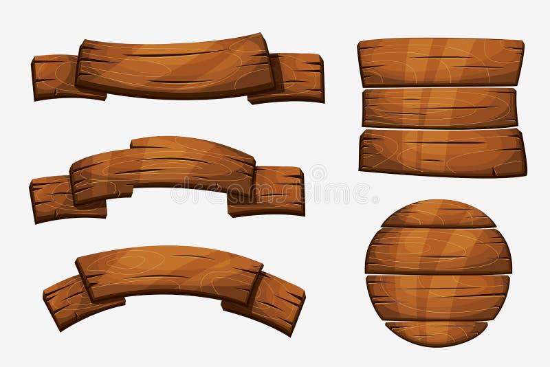 Ξύλινα σημάδια σανίδων κινούμενων σχεδίων Ξύλινα διανυσματικά στοιχεία εμβλημάτων στο άσπρο υπόβαθρο