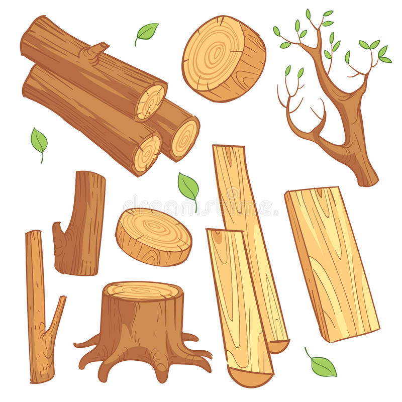 Ξύλινα υλικά κινούμενων σχεδίων, ξυλεία, καυσόξυλο, ξύλινο διανυσματικό σύνολο κολοβωμάτων διανυσματική απεικόνιση