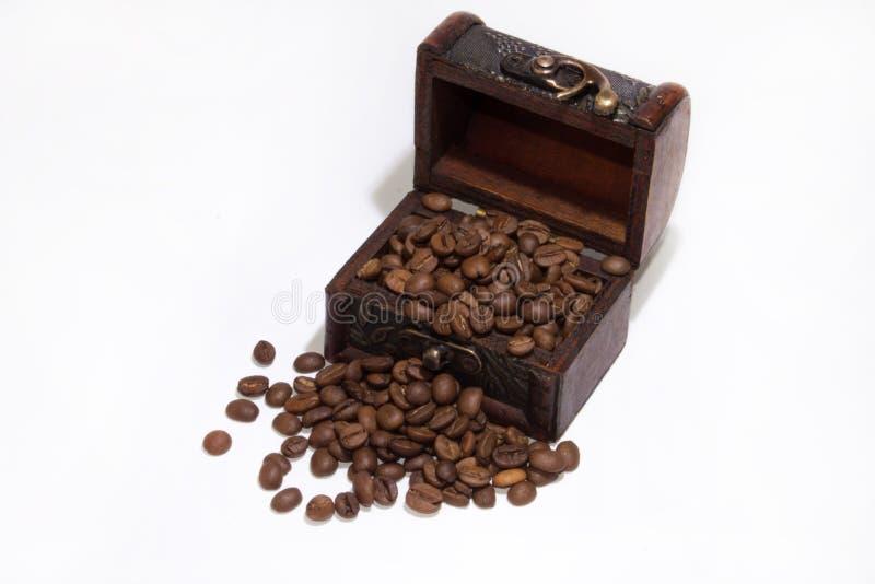 Ξύλινα φασόλια στηθών και καφέ στοκ εικόνες
