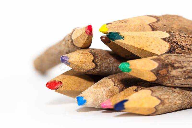 Ξύλινα χρωματισμένα μολύβια στοκ φωτογραφία με δικαίωμα ελεύθερης χρήσης