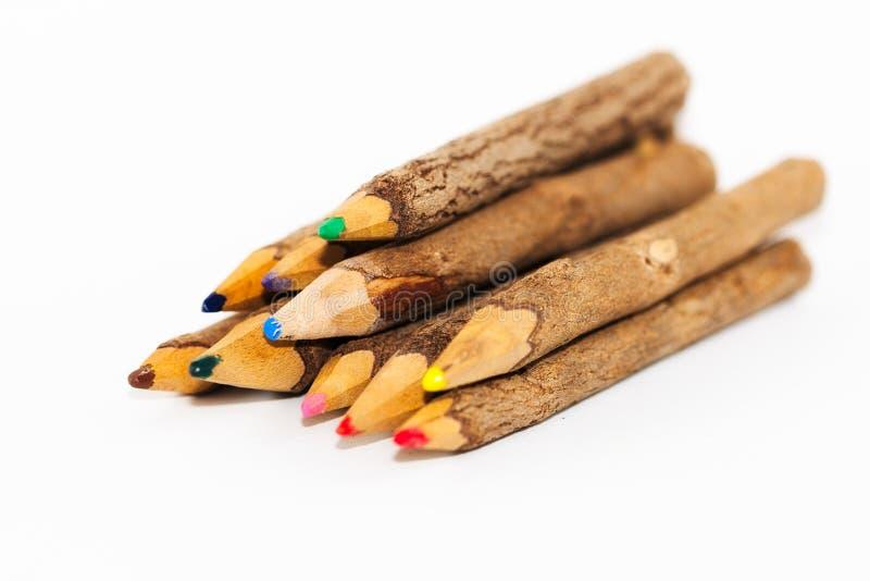 Ξύλινα χρωματισμένα μολύβια στοκ φωτογραφίες με δικαίωμα ελεύθερης χρήσης