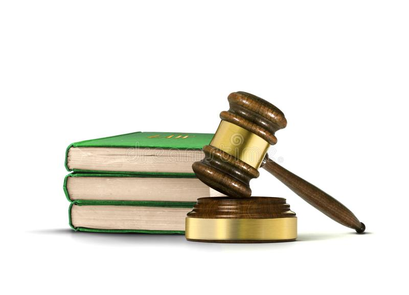 Ξύλινα gavel και βιβλία του νόμου στοκ φωτογραφίες
