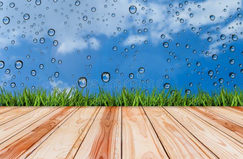 Ξύλινες πάτωμα και χλόη με την πτώση του νερού στα υπόβαθρα μπλε ουρανού στοκ εικόνες με δικαίωμα ελεύθερης χρήσης