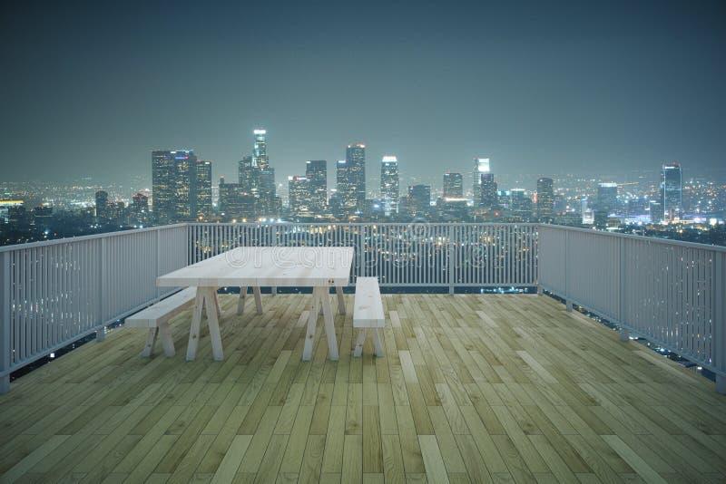 Ξύλινη άποψη πόλεων νύχτας μπαλκονιών στοκ εικόνα