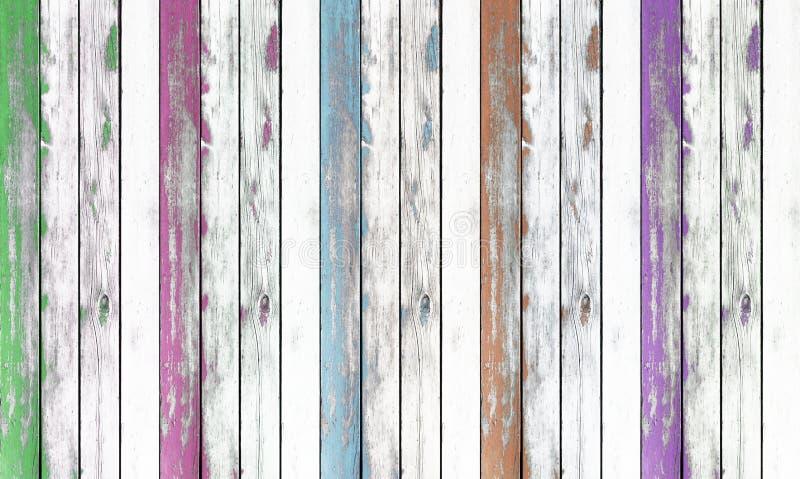 Ξύλινη ανασκόπηση σύστασης τοίχων χρωματισμένος πράσινος, ρόδινος, μπλε  καφετής στοκ φωτογραφία με δικαίωμα ελεύθερης χρήσης