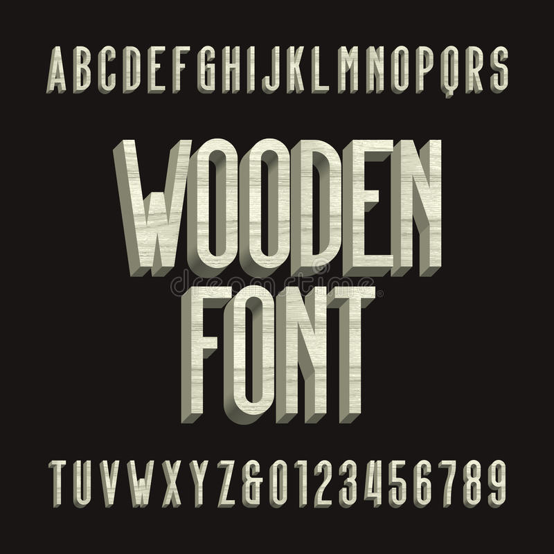 Ξύλινη αναδρομική διανυσματική πηγή αλφάβητου τρισδιάστατος ξύλινος χωρίς τις επιστολές και τους αριθμούς τύπων πατουρών απεικόνιση αποθεμάτων