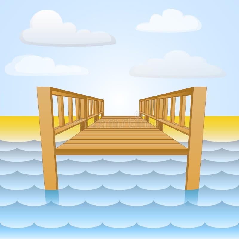 Ξύλινη αποβάθρα πέρα από το νερό με το διάνυσμα παραλιών και ουρανού διανυσματική απεικόνιση