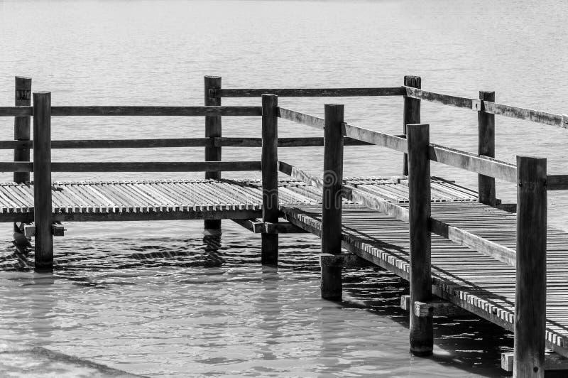 Ξύλινη γέφυρα για πεζούς πέρα από τη λίμνη νερού σε ένα πάρκο στοκ φωτογραφίες