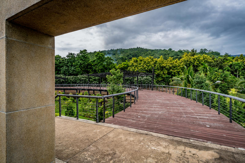 Ξύλινη γέφυρα για πεζούς στο πάρκο στοκ φωτογραφίες με δικαίωμα ελεύθερης χρήσης
