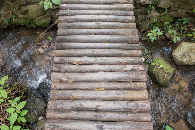 Ξύλινη γέφυρα τοπ άποψης πέρα από τον ποταμό στοκ φωτογραφίες με δικαίωμα ελεύθερης χρήσης