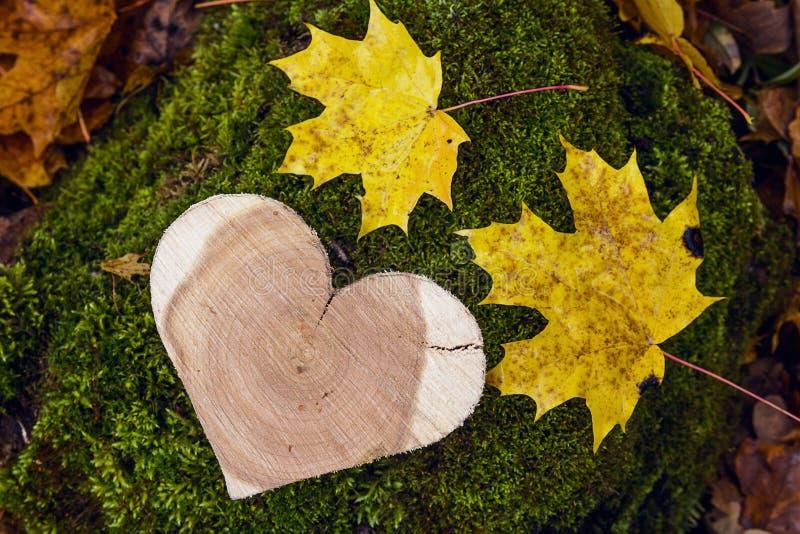 Ξύλινη καρδιά σε ένα κολόβωμα με τα πεσμένα φύλλα στο δάσος φθινοπώρου στοκ φωτογραφία με δικαίωμα ελεύθερης χρήσης