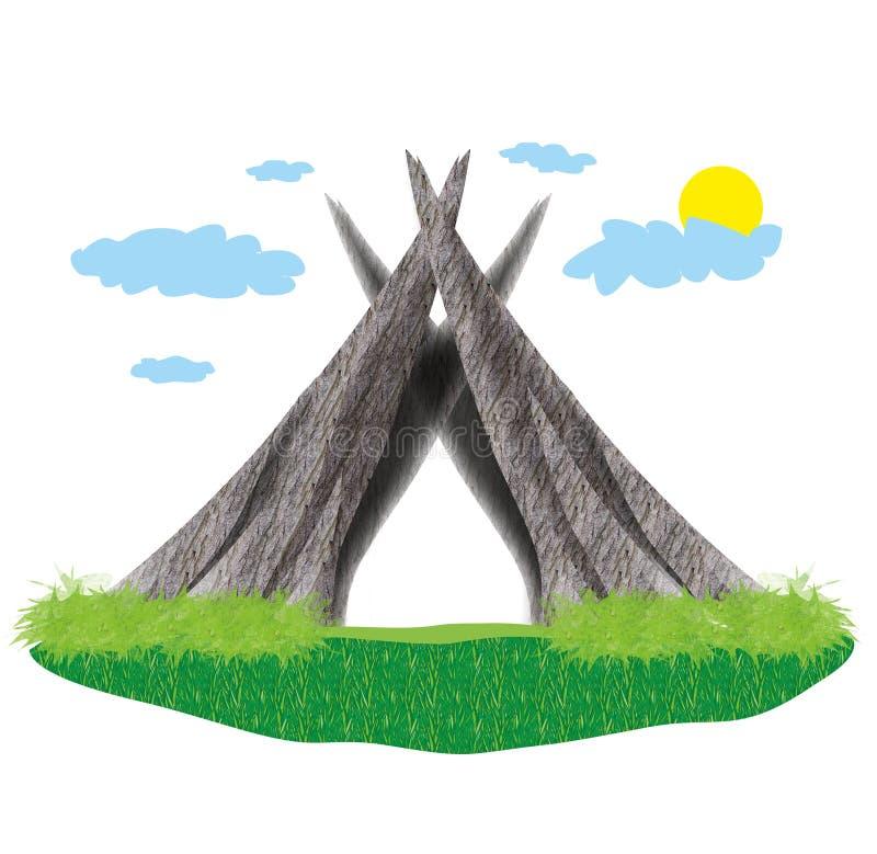 Ξύλινη καλύβα μαινόμενη στο πράσινο νησί ελεύθερη απεικόνιση δικαιώματος