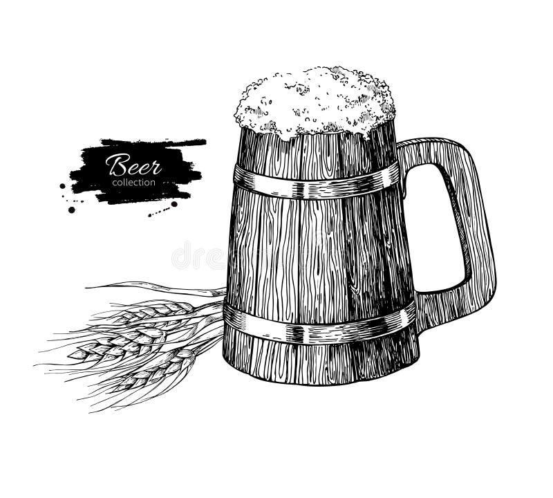Ξύλινη κούπα μπύρας με το σιτάρι σίτου Διανυσματικό illustrati ύφους σκίτσων διανυσματική απεικόνιση