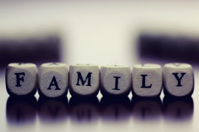 Ξύλινη οικογένεια κύβων κειμένων στοκ εικόνες