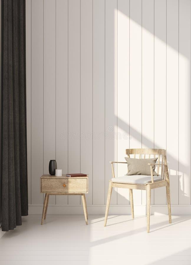 Ξύλινη πολυθρόνα στην ξύλινη τρισδιάστατη απόδοση δωματίων στοκ εικόνες