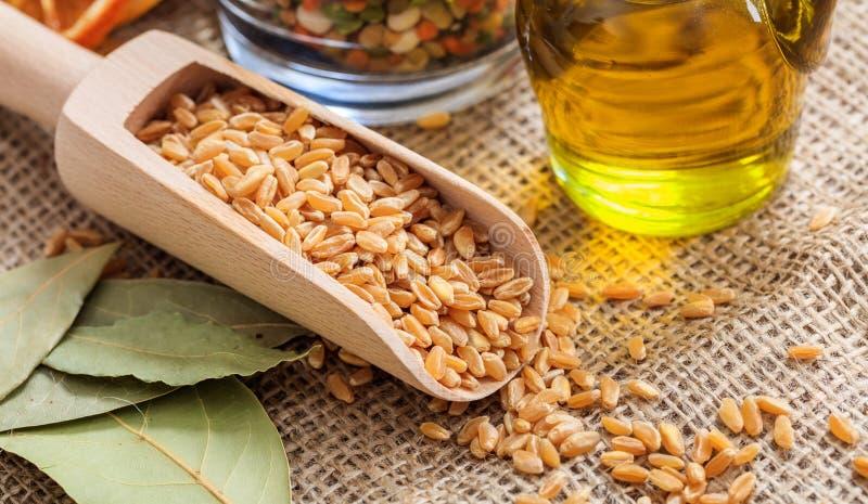 Ξύλινη σέσουλα με τους σπόρους σίτου στοκ εικόνες με δικαίωμα ελεύθερης χρήσης