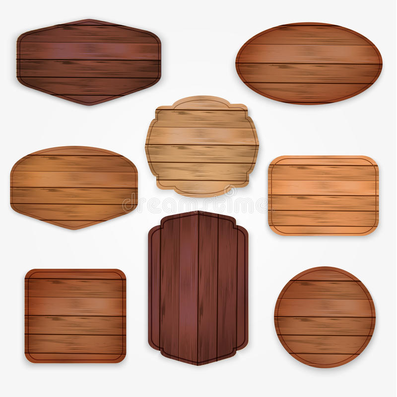 Ξύλινη συλλογή ετικετών αυτοκόλλητων ετικεττών Σύνολο διάφορων πινάκων σημαδιών μορφών ξύλινων για τις αυτοκόλλητες ετικέττες πώλ απεικόνιση αποθεμάτων