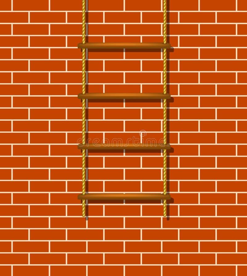 Ξύλινοι σκάλα και τουβλότοιχος σχοινιών απεικόνιση αποθεμάτων