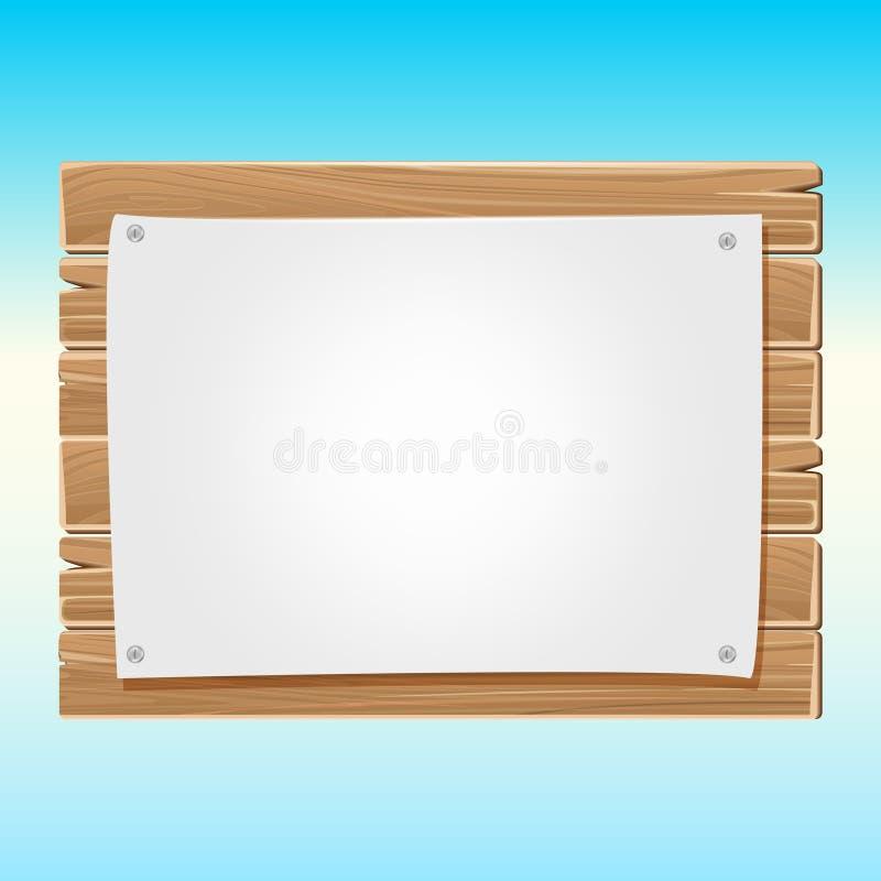 Ξύλινος κενός πίνακας σημαδιών με το μπλε ουρανό εγγράφου απεικόνιση αποθεμάτων