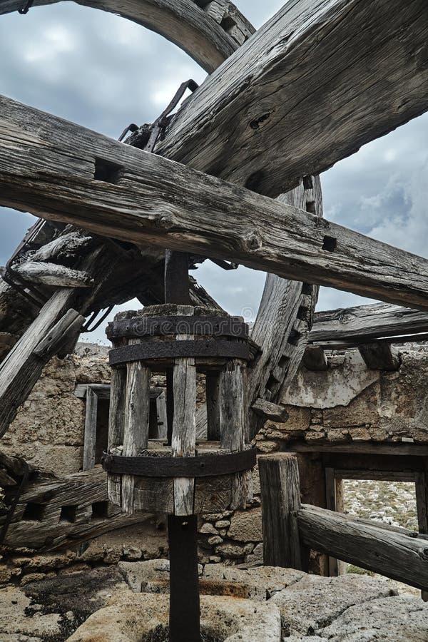 Ξύλινος μηχανισμός ενός παραδοσιακού ανεμόμυλου στοκ φωτογραφία με δικαίωμα ελεύθερης χρήσης