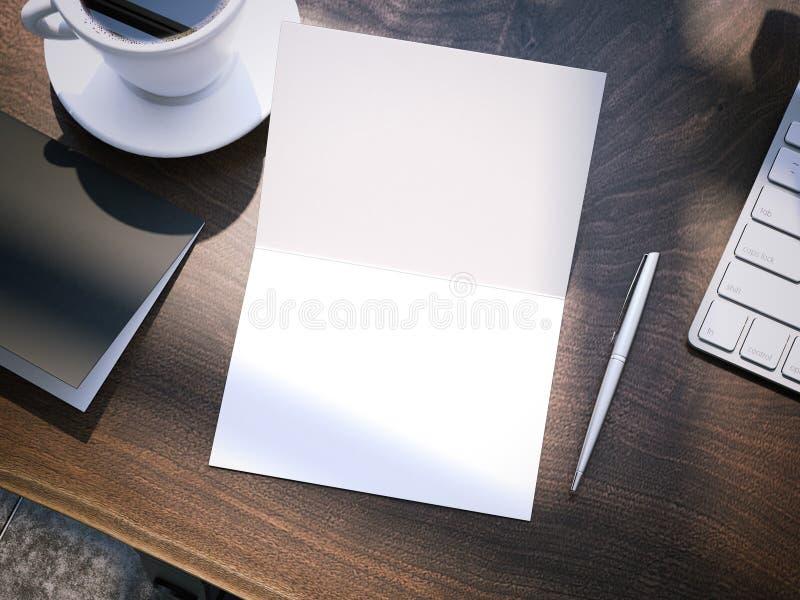 Ξύλινος πίνακας με τα εξαρτήματα γραφείων τρισδιάστατη απόδοση στοκ εικόνα με δικαίωμα ελεύθερης χρήσης