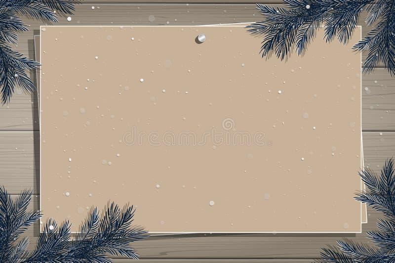 Ξύλινος πίνακας με τη φωτογραφία και θέση για την επιγραφή διανυσματική απεικόνιση