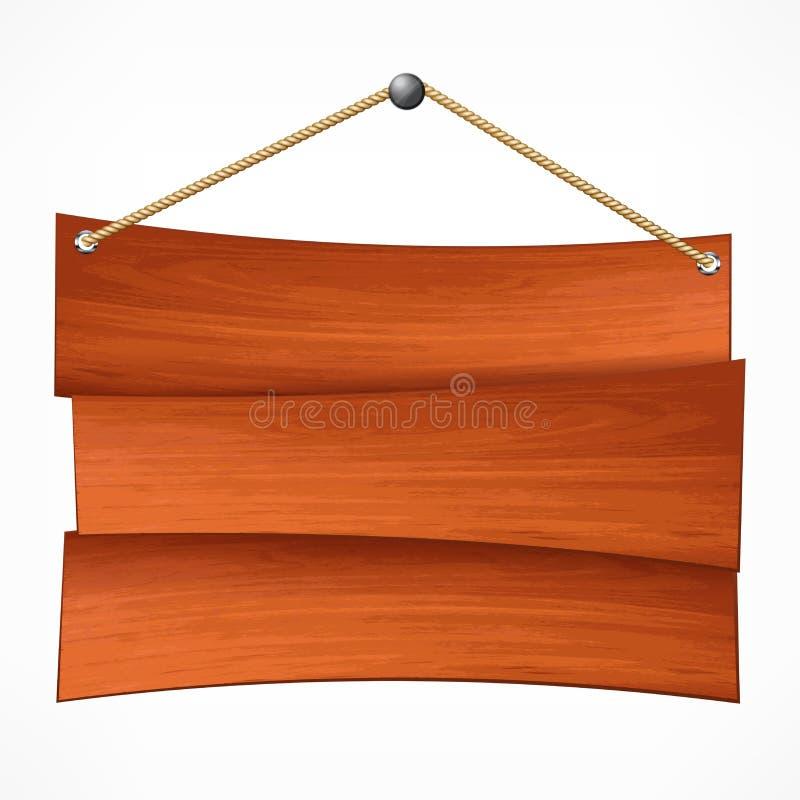 Ξύλινος πίνακας στο σχοινί ελεύθερη απεικόνιση δικαιώματος