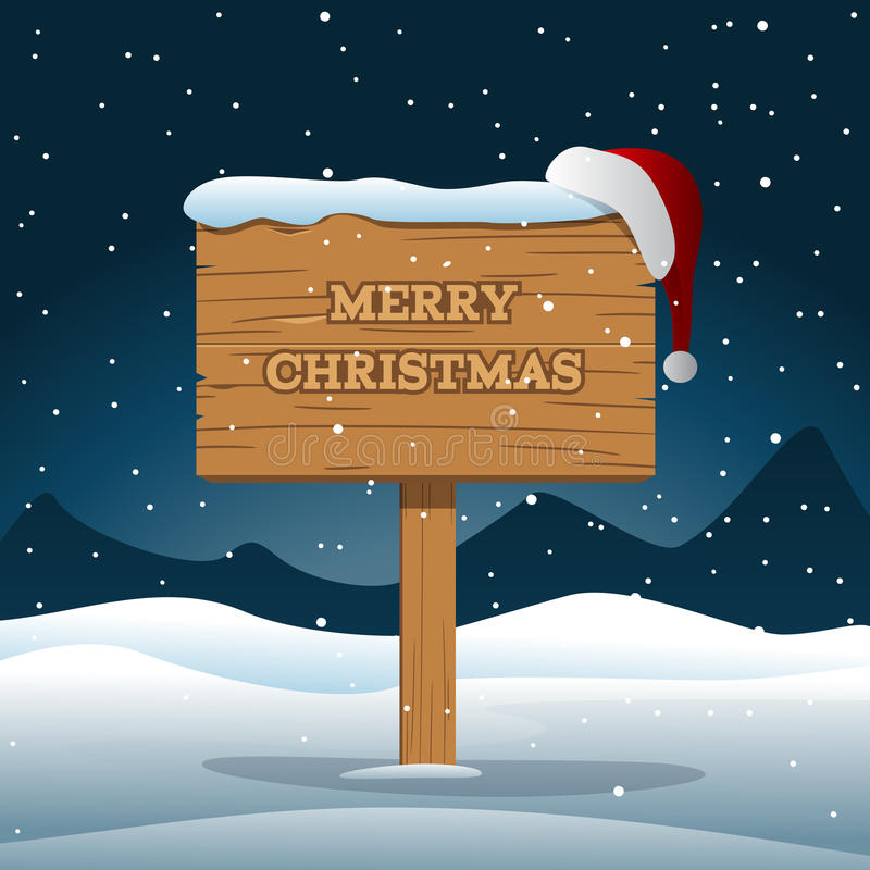 Ξύλινος πίνακας Χαρούμενα Χριστούγεννας διανυσματική απεικόνιση