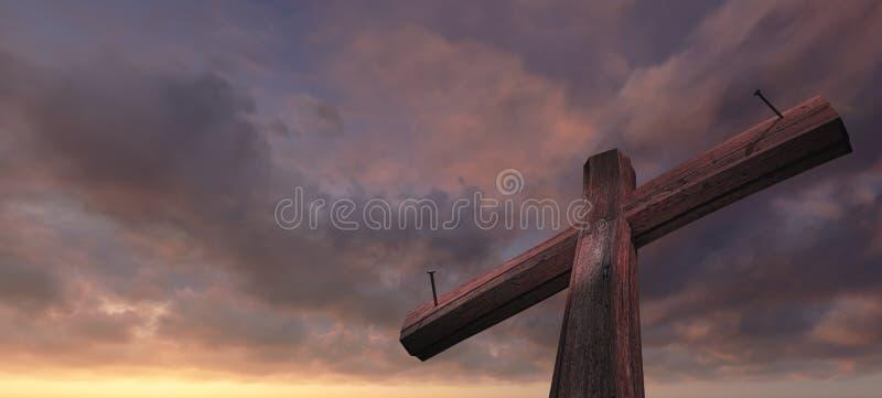 Ξύλινος σταυρός διανυσματική απεικόνιση