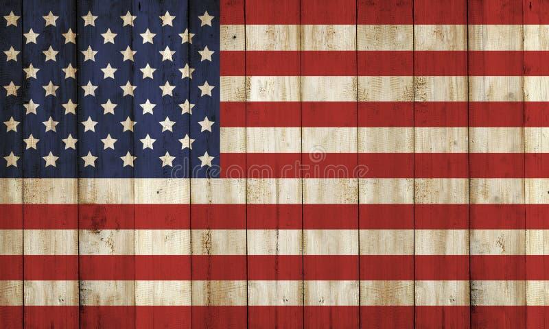 Ξύλινος φράκτης με το σχέδιο ΑΜΕΡΙΚΑΝΙΚΩΝ σημαιών διανυσματική απεικόνιση