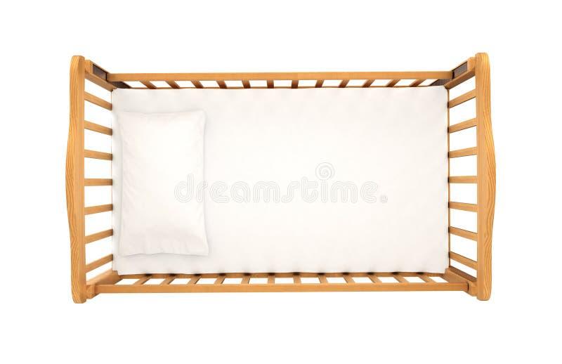 Ξύλινο λίκνο για το μωρό με το μαξιλάρι που απομονώνεται στο άσπρο υπόβαθρο, στοκ φωτογραφίες με δικαίωμα ελεύθερης χρήσης