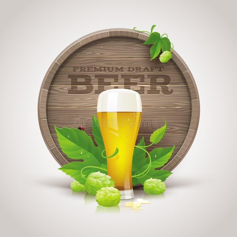 Ξύλινο βαρέλι, γυαλί μπύρας, ώριμοι λυκίσκοι και φύλλα διανυσματική απεικόνιση