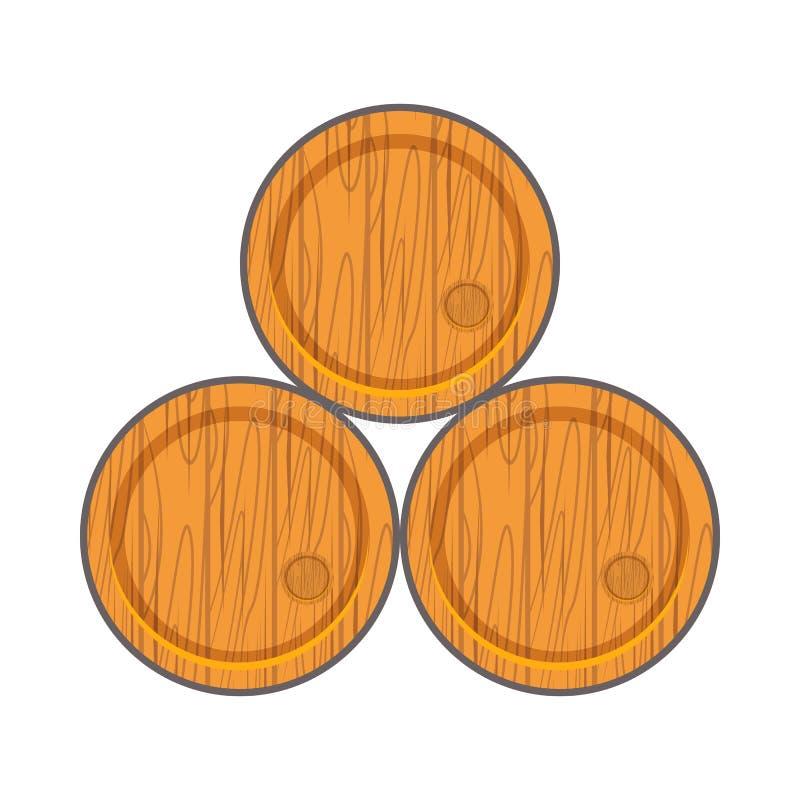 Ξύλινο βαρέλι κινούμενων σχεδίων στο επίπεδο ύφος διανυσματική απεικόνιση