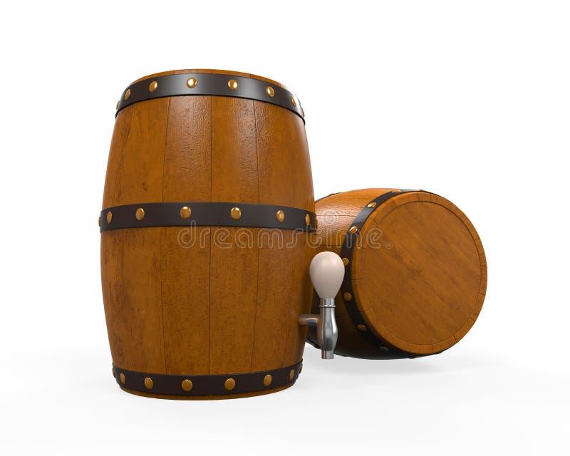 Ξύλινο βαρέλι μπύρας διανυσματική απεικόνιση