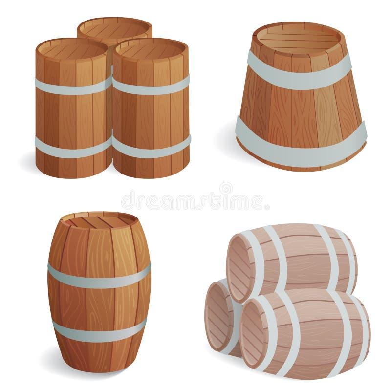 Ξύλινο βαρελιών εκλεκτής ποιότητας παλαιό εμπορευματοκιβώτιο αποθήκευσης ύφους δρύινο και καφετιά αναδρομική υγρή ζύμωση αντικειμ απεικόνιση αποθεμάτων