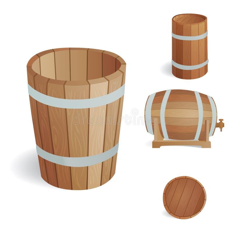 Ξύλινο βαρελιών εκλεκτής ποιότητας παλαιό εμπορευματοκιβώτιο αποθήκευσης ύφους δρύινο και καφετιά αναδρομική υγρή ζύμωση αντικειμ διανυσματική απεικόνιση