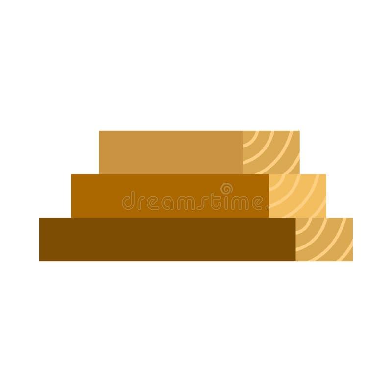Ξύλινο εικονίδιο πινάκων, επίπεδο ύφος διανυσματική απεικόνιση