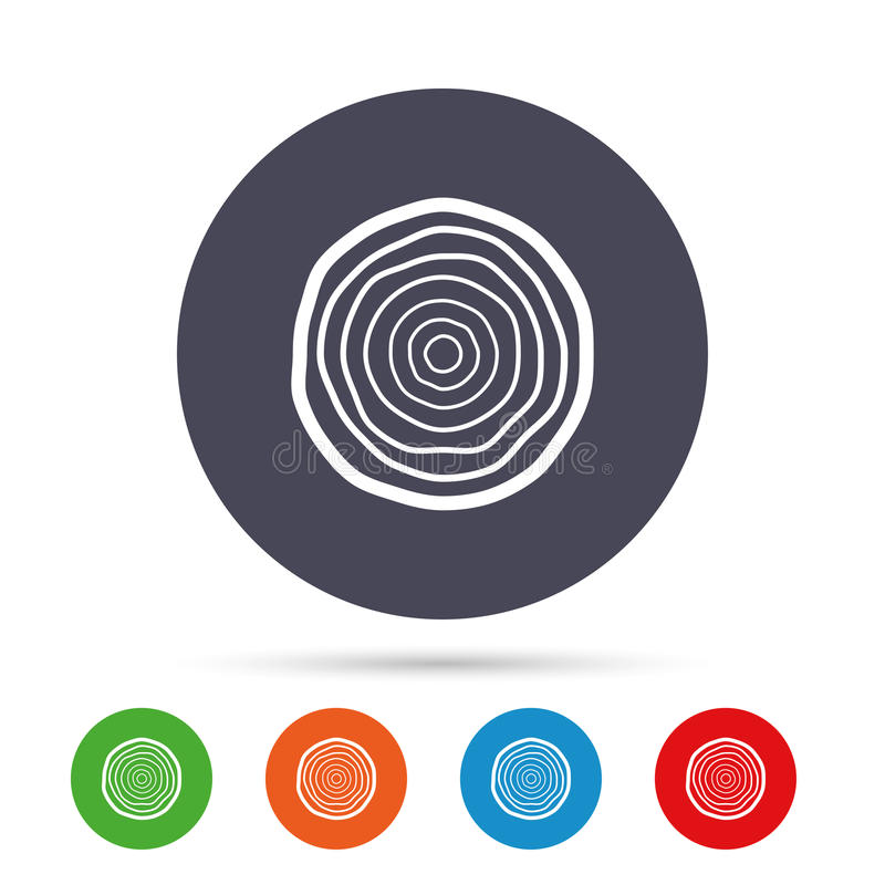 Ξύλινο εικονίδιο σημαδιών Δαχτυλίδια αύξησης δέντρων απεικόνιση αποθεμάτων